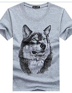 お買い得  メンズTシャツ&タンクトップ-メンズ お出かけ Tシャツ,活発的 シャツカラー ソリッド ストライプ 幾何学模様 コットン リネン ポリエステル ハーフスリーブ
