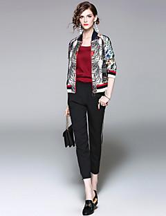 Damen Leopard Street Schick Ausgehen Lässig/Alltäglich Jacke,Ständer Herbst Winter Lange Ärmel Kurz Polyester