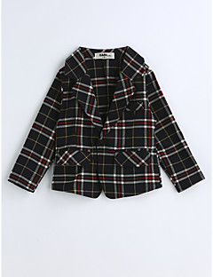 Boys' Plaid Suit & Blazer,Cotton Spring Fall Long Sleeve Black