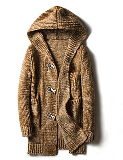 Herren Lang Strickjacke-Lässig/Alltäglich Einfach Solide Mit Kapuze Langarm Baumwolle Polyester Andere Herbst Winter Dick Mikro-elastisch