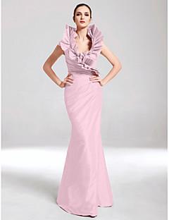 billige Høst 2013-Havfrue V-hals Gulvlang Taft Formell kveld Kjole med Sidedrapering / Drapert av TS Couture®