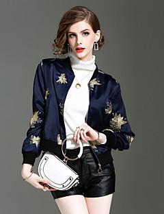 Damen Geometrisch Street Schick Ausgehen Lässig/Alltäglich Jacke,Ständer Herbst Winter Lange Ärmel Kurz Polyester Elasthan Stickerei