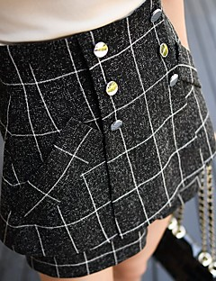 Dámské Retro Jednoduchý Šik ven Není elastické Kraťasy Kalhoty Rovné High Rise Kostičky