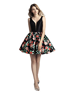 Princess V-neck Short / Mini Mikado Honeymoon Cocktail Party Dress with Pattern / Print by Sarahbridal