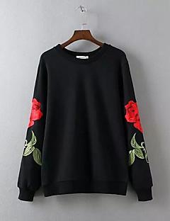 tanie Damskie bluzy z kapturem-Damskie Podstawowy Bluzy - Kwiaty, Nadruk