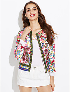 Women's Fashion Embroidered Flowers Cardigan Round Neck Outwear