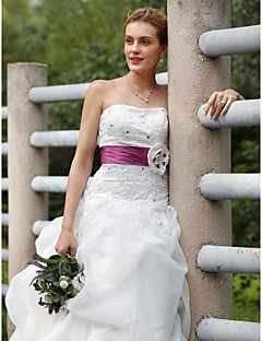 cheap Plus Size Wedding Dresses-Ball Gown Strapless Sweep / Brush Train Organza Taffeta Wedding Dress with Pick Up Skirt Sashes/ Ribbons by LAN TING BRIDE®