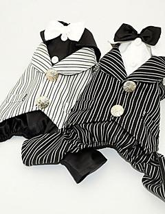 billiga Hundkläder-Hund Smoking Hundkläder Rand Vit Svart Polyester Kostym För husdjur Herr Dam Fest Bröllop