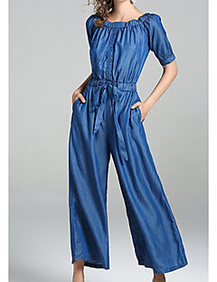 Women's Casual/Daily Simple Solid U Neck Jumpsuits,Straight Sleeveless Summer Others