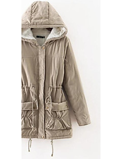Women's Padded Coat,Casual Daily Solid-Cotton Cotton Long Sleeves