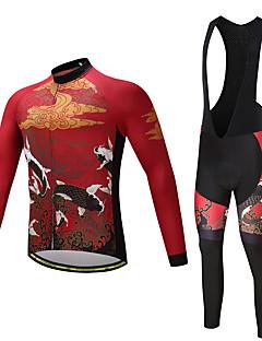 Camisa com Calça Bretelle Homens Não Especificado Manga Longa Moto Calças Camisa/Roupas Para Esporte Meia-calça Tights Bib Blusas