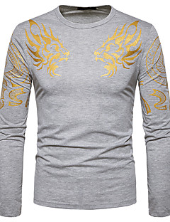 Herren Blumen Einfach Lässig/Alltäglich T-shirt,Rundhalsausschnitt Langarm Baumwolle