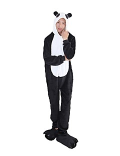 billige Kigurumi-Kigurumi-pysjamas med tøfler Panda Onesie-pysjamas Kostume Flannelstoff Svart/Hvit Cosplay Til Pysjamas med dyremotiv Tegnefilm Halloween
