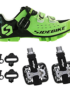 billiga Cykling-SIDEBIKE Vuxna Cykelskor med pedaler och klossar / MTB-skor Nylon Anti-Skakning, Stötdämpande, Bärbar Cykelsport Grön / Svart Herr / Krok och ögla