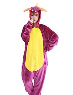 billige Kigurumi-Kigurumi-pysjamas Drage Onesie-pysjamas Kostume Flannelstoff Lilla Cosplay Til Pysjamas med dyremotiv Tegnefilm Halloween Festival /