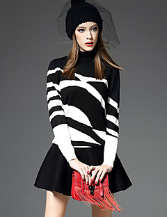 Women's Daily Going out Casual Street chic Sophisticated Winter Fall Hoodie Skirt Suits,Zebra Print Turtleneck Long Sleeve Polyester