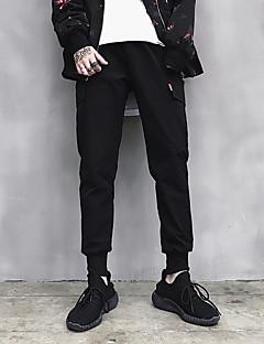 Herre Gatemote Aktiv Punk & Gotisk Uelastisk Chinos Joggebukser Bukser,Tynn Mellomhøyt liv Ensfarget