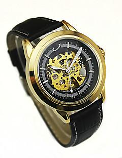 男性用 ファッションウォッチ 機械式時計 手巻き式 レザー バンド ブラック