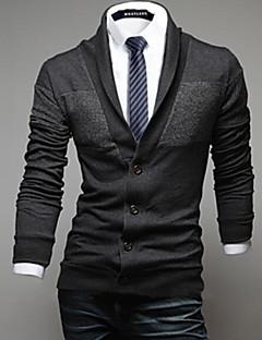 tanie Męskie swetry i swetry rozpinane-Męskie Moda miejska Kołnierzyk koszuli Sweter rozpinany Solidne kolory Długi rękaw
