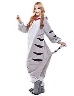 billige Kigurumi-Kigurumi-pysjamas Chi Sweet Home / Cheese Cat Kat Onesie-pysjamas Kostume Polar Fleece Hvit Cosplay Til Pysjamas med dyremotiv Tegnefilm