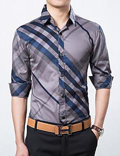 メンズ カジュアル/普段着 シャツ,シンプル シャツカラー ストライプ コットン 長袖