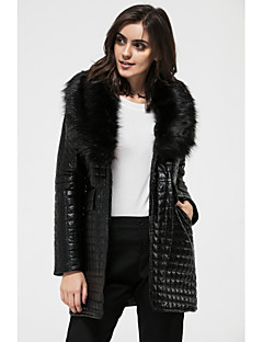 Going out Casual Solid Color Long Sleeve Long Faux Fur Patchwork