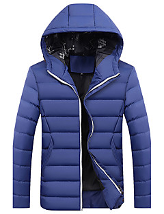 Men's Regular Padded Coat,Casual Daily Plus Size Solid-Cotton Polyester Polyester Cotton Long Sleeves Hooded