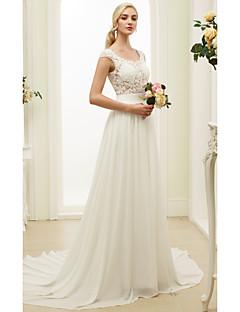 billiga A-linjeformade brudklänningar-A-linje / Prinsessa Scoop Neck Hovsläp Chiffong / Spets Bröllopsklänningar tillverkade med Applikationsbroderi / Bälte / band av LAN TING