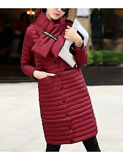 Damen Daunen Mantel,Lang Einfach Ausgehen Solide-Baumwolle Polypropylen Langarm