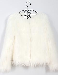 저렴한 -여성 솔리드 V 넥 긴 소매 모피 코트,단순한 데이트 플러스 사이즈 보통 레이온 가을 겨울