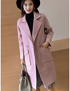 Damen Solide Einfach Lässig/Alltäglich Mantel,Gekerbtes Revers Winter Lange Ärmel Lang Baumwolle überdimensional