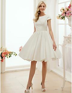 Trapèze Princesse Bijoux Mi-long Satin Robe de mariée avec Ceinture / Ruban par LAN TING BRIDE®