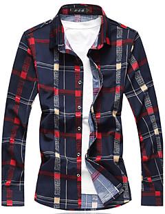 お買い得  メンズシャツ-男性用 日常 / お出かけ / ワーク プラスサイズ シャツ ストリートファッション チェック コットン / アクリル / 長袖