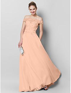 billige Paljettkjoler-A-linje Gulvlang Chiffon Skoleball Formell kveld Kjole med Appliqué av TS Couture®