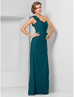 baratos Vestidos de Formatura-Tubinho Assimétrico Longo Chiffon Evento Formal Vestido com Miçangas / Franzido de TS Couture®