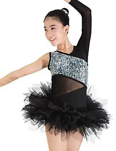 billige Ballettantrekk-Ballett Trikoter Drakter Hodeplagger Tutuer & Skjørter Dame Ytelse Spandex Blonder Tyll Lycra Blonder Strå Drapert Ermeløs Naturlig