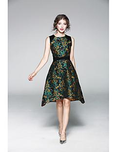 Damen Hülle Kleid-Lässig/Alltäglich Solide Druck Rundhalsausschnitt Knielang Übers Knie Ärmellos Polyester Sommer Mittlere Hüfthöhe