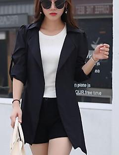 Damen Solide Einfach Ausgehen Lässig/Alltäglich Trench Coat,Schal Revers Frühling Herbst Lange Ärmel Kurz Baumwolle