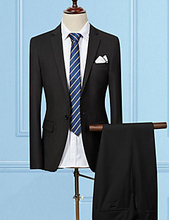 お買い得  メンズブレザー&スーツ-男性用 スーツ ノッチドラペル スリム ソリッド, コットン