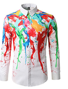 メンズ カジュアル/普段着 シャツ,シンプル シャツカラー 虹色 コットン 長袖