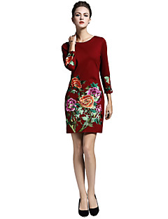 8CFAMILY Women's Daily Going out Work Boho Chinoiserie Sophisticated A Line Dress,Embroidered Round Neck Above Knee 3/4 Length Sleeves Nylon Fall