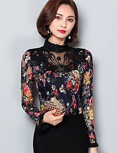 Women's Daily Casual Blouse,Floral Round Neck Long Sleeves Polyester