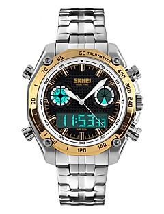 billige Digitalure-SKMEI Herre Quartz Armbåndsur Japansk Alarm Kalender Kronograf Vandafvisende Selvlysende i mørke Stopur Dobbelte Tidszoner PU Bånd Mode