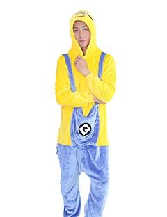 billige Kigurumi-Kigurumi-pysjamas Tegneserie Mini gule menn Onesie-pysjamas Kostume Flannelstoff Cosplay Til Voksne Pysjamas med dyremotiv Tegnefilm