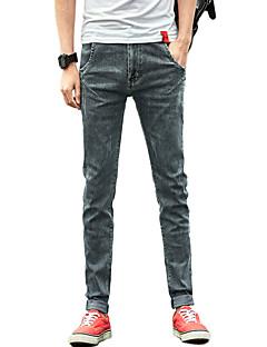 billige Herrebukser og -shorts-Herre Bomull Skinny Jeans Bukser Ensfarget