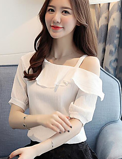 Women's Casual/Daily Simple Summer Blouse,Solid Boat Neck Short Sleeves Linen