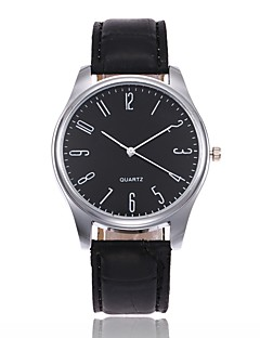 Men's Fashion Watch Chinese Quartz Leather Band Elegant Casual Black Brown