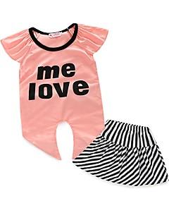 billige Tøjsæt til piger-Pige Tøjsæt Stribe, Polyester Sommer Kortærmet Stribet Lyserød