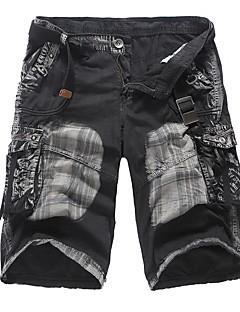 billige Herrebukser og -shorts-Herre Enkel Vintage Uelastisk Rett Shorts Bukser, Mellomhøyt liv Ensfarget Sommer