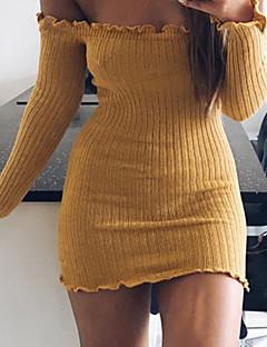 Kadın Dışarı Çıkma Seksi Bandaj Kılıf Elbise Solid,Uzun Kollu Kayık Yaka Mini Pamuklu Splandeks Bahar Sonbahar Normal Bel Mikro-Esnek Orta